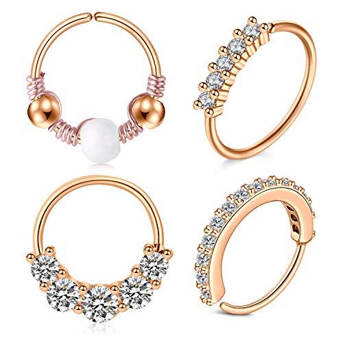 LAURITAMI 4PCS Cartilage Earrings Hoops Stainless Steel 8mm 20G Nose Rings Diamond Crystal Opal Helix Hoop Piercing Jewellery