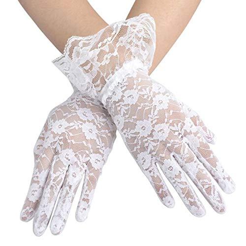VORCOOL 1 para Frühling Sommer Kurze Spitze Handschuhe Anti-UV-Sonnenschutz Vollfinger-Handschuhe mit Spitze Rüschen (weiß)
