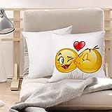 Funda de Cojines Suave Poliéster,Emoji, coqueto romántico...