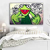 Street Graffiti Art Frog Kermit Finger Poster Print Canvas Painting Animal Painting Wall Pictures For Living Room 60x90cm Unframed