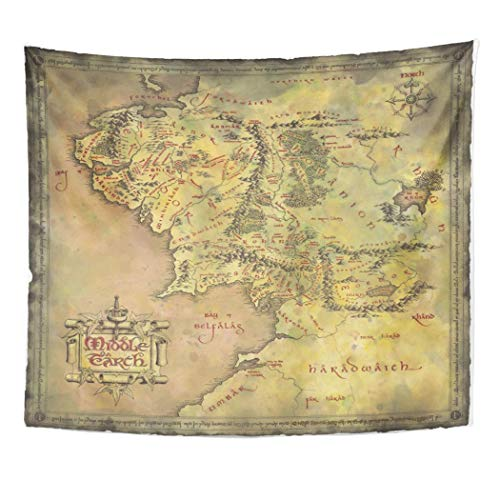 SSKBJTBDW Middle Earth Map Tapestry Soft Polyester Cotton Appropriate Size Nice Wall Hanging Decoration