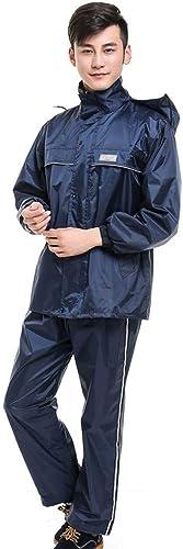 Heureux ensemble VêteHommest de Pluie Costume Veste de Pluie imperméable Pantalon vêteHommests de Pluie imperméable Moto Adulte Unique équitation Split imperméable Costume (Couleur   Navy, Taille   XXL)