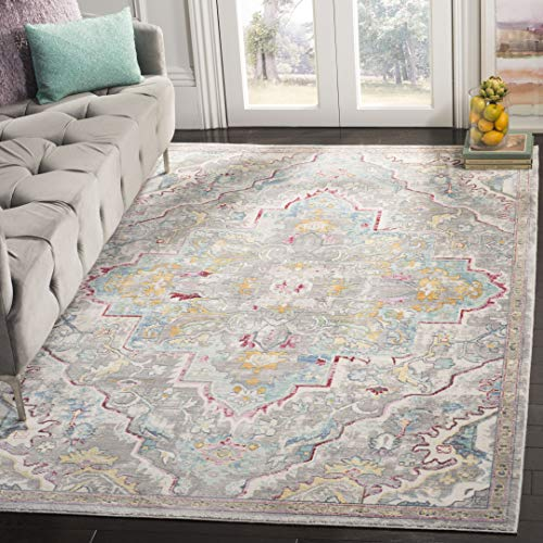 Safavieh Mystique Collection MYS921L Watercolor Distressed Area Rug, 5' x 8', Grey / Light Blue