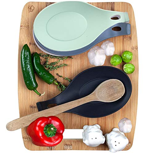 LYT 2 pcsset Heat Resistant Silicone Spoon Rest Utensil Spatula Holder Kitchen Tool set of 5 black green 105CM4CM28CM