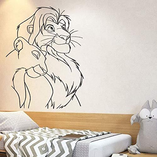 fancjj Sticker Mural de Bande Dessinée Simba Vinyle Autocollant Mural Pépinière Enfants Chambre Bébé Chambre Décor À La Maison Amovible Murale Art