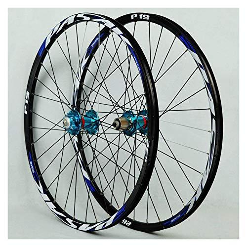 zyy Biciclette Set di Ruote Lega Alluminio MTB Ruota Anteriore Posteriore Doppia Parete Cassetta Rilascio Rapido Freno A Disco 7/8/9/10/11Velocità 32Fori (Color : Blue, Size : 26in)