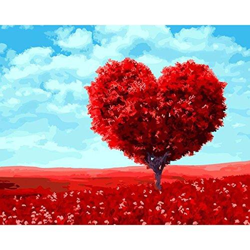 Ölgemälde auf Leinwand DIY Wand Büro Dekor Malen nach Zahlen Rot Herz Baum Digital