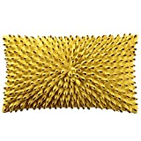 King Rose 3D Flower Accent Throw Pillow Case Super Soft Decorative Cushion Cover for Bed Living Room Sofa 12 x 20 Inches Solid Suede Mustard Yellow