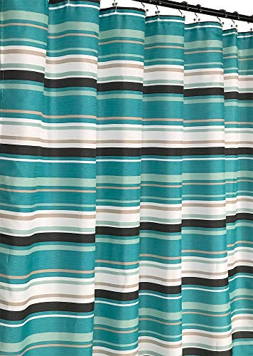 Evonca Teal Aqua Brown Taupe White Fabric Shower Curtain: Canvas Striped Pattern Design, 70' x 72' inches