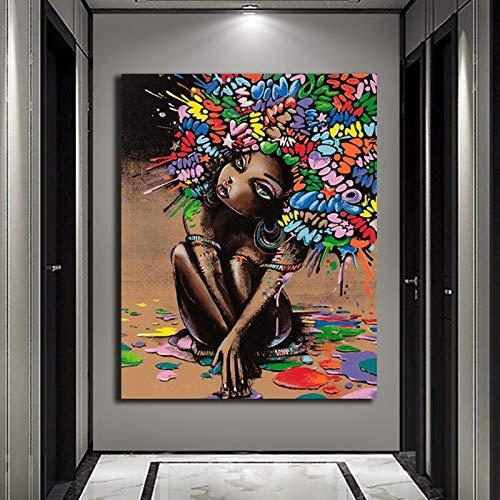 Geiqianjiumai Süßes Mädchen Bild Poster Leinwand Malerei chinesische Malerei Wohnzimmer Grafik Dekorationen rahmenlose Malerei 60x90cm