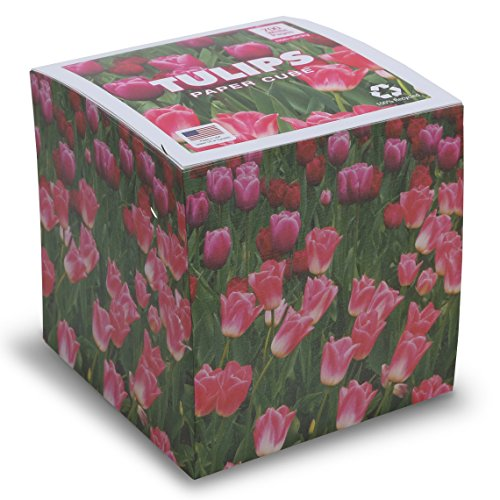 EARTHCUBE (Tulips Design) Blank White 3.5 Inch Note Cube (Not Sticky) Made in USA (Paper US or CAN) 100% Recycled 700 Tear-off Pages (Not Loose)