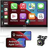 Double Din Stereo Compatible with Apple CarPlay and Android Auto, Hieha 7 Inch Touch Screen Bluetooth Car Radio Support AM|FM|Mirror Link|Rear View Camera |SWC|AUX Input