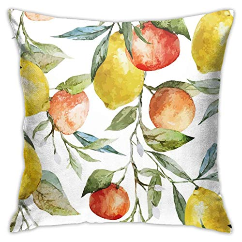 Throw Pillow Case Cushion Cover,Lemon and Orange Clementine Tree Branches Fruit Yummy Winter Season Vitamin Design ,18x18 Inches