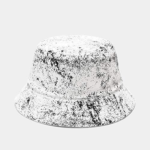 Moda Verano Sombrero De Cubo Tie Dye Imprimir Sombrero De Pescador Viajes Al Aire Libre Playa Sombrero Para El Sol Sombrilla Gorra De Cubo/Sombreros De Arbusto Para Hombres Mujeres,Blanco,55,59Cm