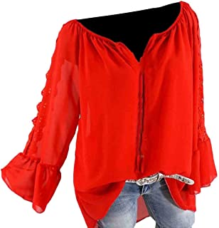 GAGA Women's Strapless Blouse Top Bell-Sleeve Solid Leisure Baggy T-Shirts