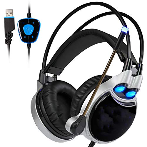 HBOY Headset Gaming Headset, USB Dedicated Computer Gaming Headset, 50MM Drive Unit, Intrekbare Omnidirectionele Microfoon Ontwerp, ruisonderdrukking. Geschikt voor pc-computers, kan worden gebruikt als cadeau.