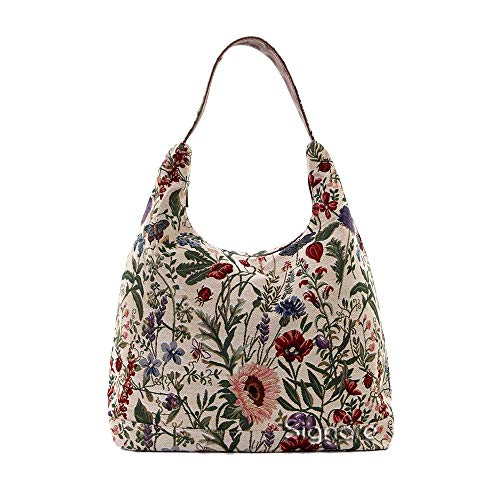 Signare Tapisserie Umhängetasche Damen, Shopper Damen Groß, Strandtasche Groß mit Blumenmustern (with Floral Designs) (Morgengarten)
