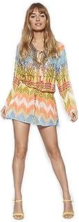 Vestido Corto Verano Mujer Kaftan Estampado Semitransparente Cuello V Protector Solar para Cubrir Bikini Moda Hippie Mini Playa