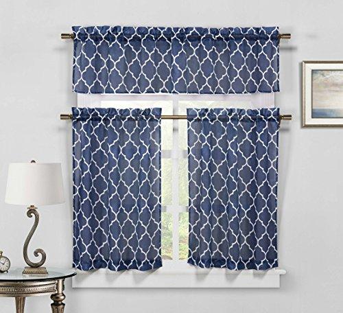 Duck River Textile Geo Geometric Kitchen Window Curtain Tier Valance Set, 2 29 x 36 & 1 58 x 15, Navy Blue