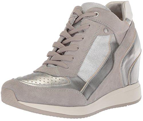 Geox D Nydame A, Sneaker a Collo Alto Donna, Argento (Lt Grey/Silver), 39 EU