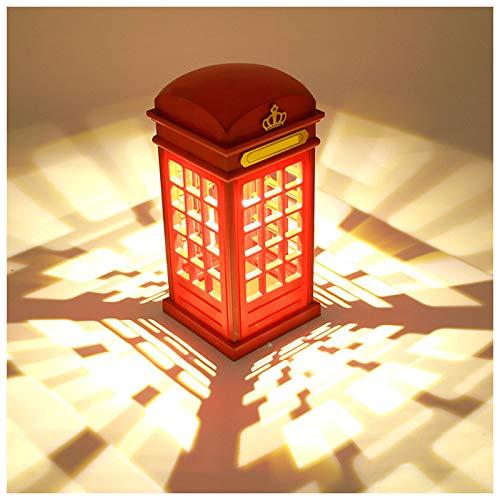 GKJ Caja de teléfono Luz Nocturna, diseño de Cabina telefónica de Londres Vintage, lámpara de Mesa LED Recargable con Carga USB, Sensor táctil de luz Nocturna para decoración del hogar