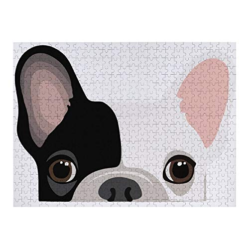 NiYoung 500 Pieces Jigsaw Puzzle for Kids Adults - Black White Cute French Bulldog Print, Artwork Art Premium Quality Large Jigsaw Puzzle Toy for Intellectual Educational Home Decor (20.5x15 Inch)