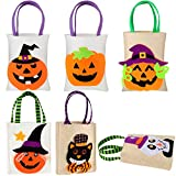 Weewooday 6 Pieces Halloween Tote Bag Trick Or Treat Bags Burlap Candy Bags Reusable Halloween Print Goody Bag Pumpkin Snack Fags for Halloween Themed Party Favor Supplies