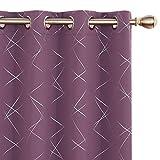 Amazon Brand - Umi Cortinas Salon Opaca de Dibujos línea Oblicua con Ollaos 2 Piezas 140x240cm Púrpura