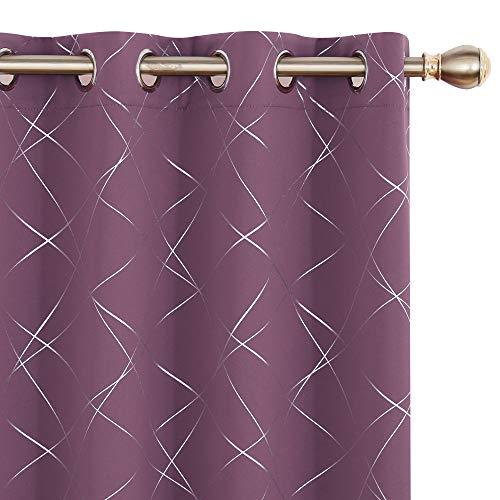 UMI Amazon Brand Cortinas Salon Opaca de Dibujos línea Oblicua con Ollaos 2 Piezas 140x245cm Púrpura