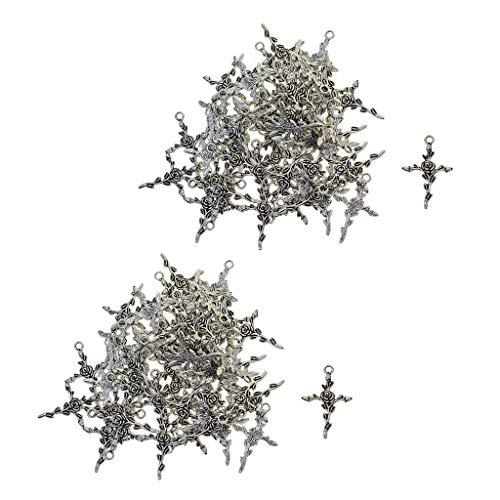 Yotijar - 100 colgantes de plata tibetana con rosas florales para joyas