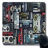 Luancrop Tapetes Estéreo Vintage Pared Grabadora Completa Radio Boombox 80 80S Alfombrilla de ratón para Juegos Oblonga Antideslizante Estera de Goma