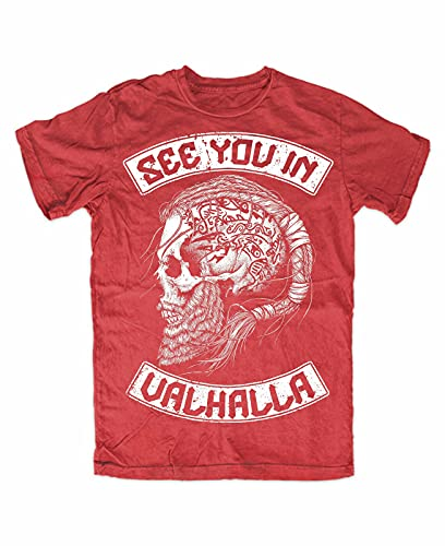 See You IN Valhalla T-Shirt Red Front, Wolf of Odin, Berserker, Vikings, Ragnar
