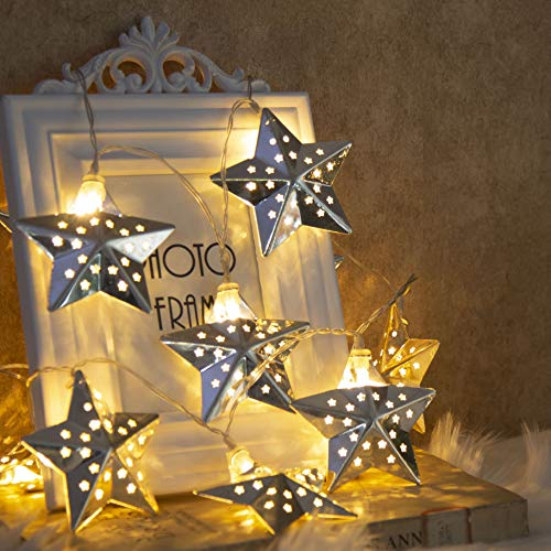 EAMBRITE Metal Star String Lights 10 LED Warm White Fairy Lights Battery Operated Indoor Decoration for Easter Birthday Wedding Window Desk Mantelpiece Party Kids' Room Bedroom