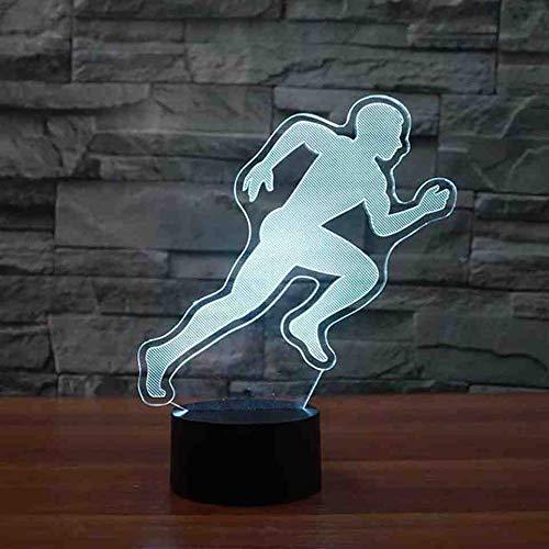 RJGOPL Running Action Modelering, 3D LED-tafellamp, slaapkamer, nachtlampje, kleurrijk nachtlampje, sfeer, licht voor kinderen, nachttafellampje, afstandsbediening