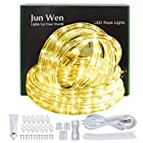 JUNWEN Rope Lights Outdoor Warm White LED Lights Rope 432LEDs 40ft/12m 110V Waterproof Indoor Cuttable Plugin Flexible Connectable UL Listed Power Plug for Walkways Patios Gardens Fences Porches