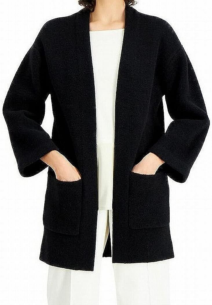 Alfani Womens Black Pocketed Open Cardigan Sweater Size L