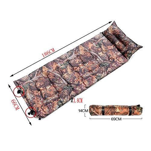 Léger Tapis de sol matelas autogonflant Pad avec taie d'oreiller, motif camouflage