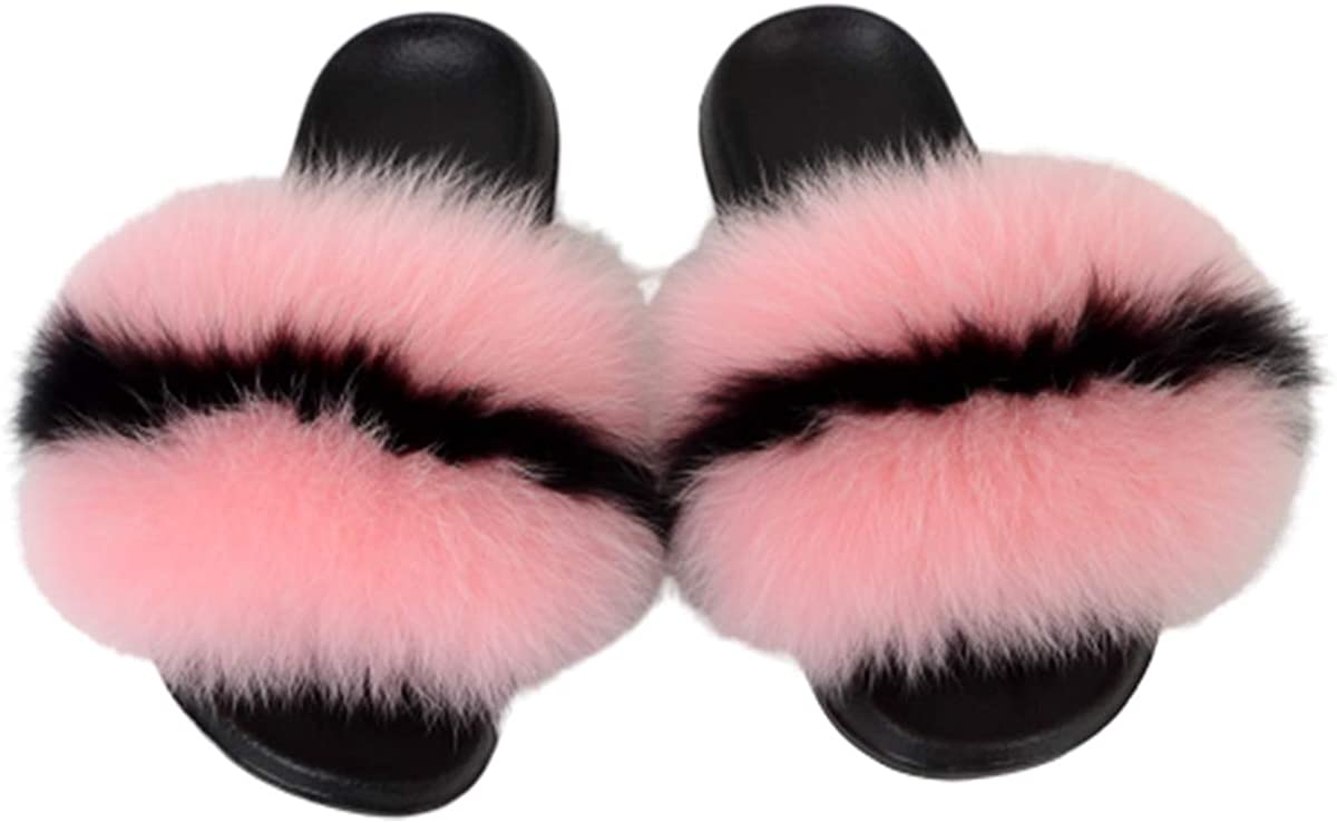 Womens Fur Slippers Slides Fuzzy Sandals Open Toe Anti-Slip Multicolor Shoes (Style 1, numeric_10)