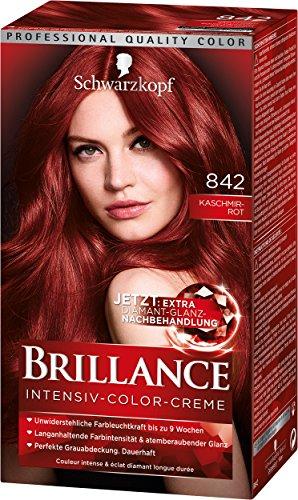 SCHWARZKOPF BRILLANCE Intensiv-Color-Creme 842 Kaschmirrot Stufe 3, mit extra Diamant-Glanz-Nachbehandlung, 3er Pack (3 x 143 ml)