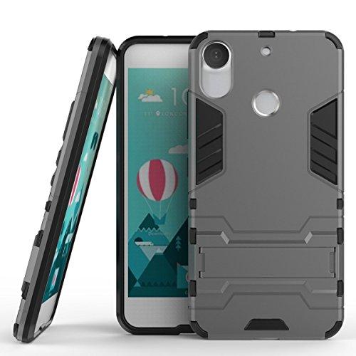 MaiJin Funda HTC Desire 10 Pro (5,5 Pulgadas) 2 en 1 Híbrida Rugged Armor Case Choque Absorción Protección Dual Layer Bumper Carcasa con Pata de Cabra (Gris)