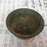 QGD Cuenco Antiguo de Bronce Antiguo de Jade Antiguo de Artesanía de Cornucopia Antigua Bolsa de Tipo de Flor de Peonía Verde,A
