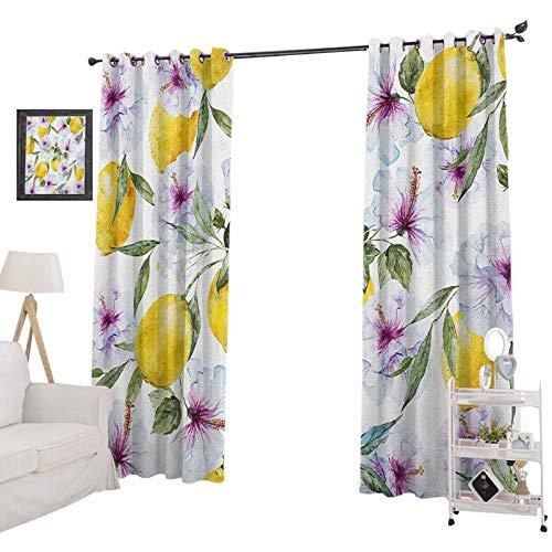 YUAZHOQI - Cortinas opacas para oscurecer la habitación de primavera, flores limones y esencia refrescante, aroma de la agricultura, acuarela, para dormitorio de niñas de 132 x 213 cm, multicolor