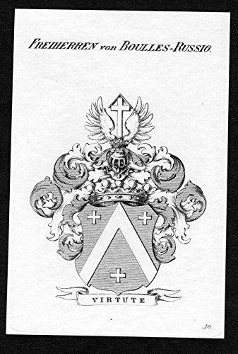 Freiherren von Boulles-Russig - Boulles-Russig Wappen Adel coat of arms heraldry Heraldik Kupferstich