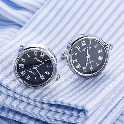 XKSWZD Real Watch Boutons de Manchette Horloge Boutons de Manchette avec Batterie Tourbill Machine Core Montre mécanique Noire 628