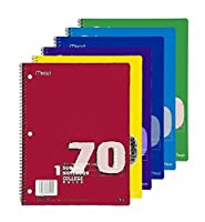 (2 Pack) - Mead Spiral Notebook, College Ruled, 1 Subject, 70 Sheets, 20cm x 27cm, Assorted Colours (05512) Pack Of 2