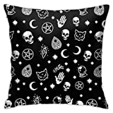 Home Throw Pillow Cover, Colorful Skull Cat Moon Gothic Pattern18 x 18 Inch Brown and Black Holiday Fall Thanksgiving Farmhouse Cushion Case for Sofa Couch