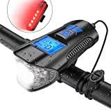 TESECU LED Bike Light USB Rear Bicycle Light 800 Lumen Rechargeable Bike Tail Light and Front Light Set Cycle Headlight with Bicycle Speedometer Odometer Fits All Mountain & Road Bike