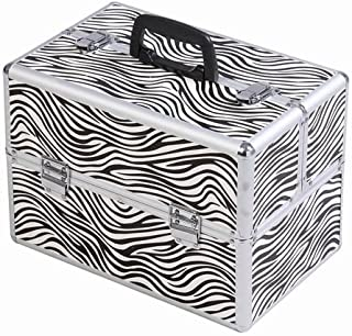 14'' Aluminum Makeup Train Case, Large 6 Tray Professional Cosmetic Makeup Box Carrier With Lock & Key, Adjustable Dividers, Zebra