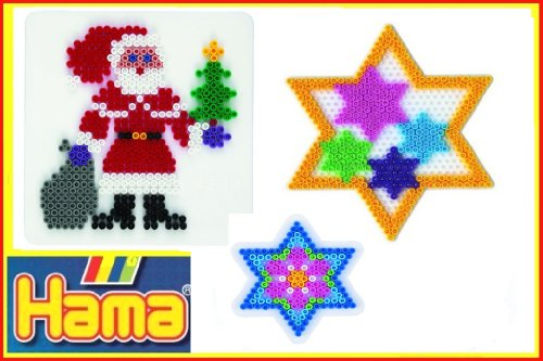 Hama Midi Stiftplatten Set Weihnachten 11 - Weihnachtsmann Nikolaus ,Stern, Kleiner Stern - im Blister Beutel