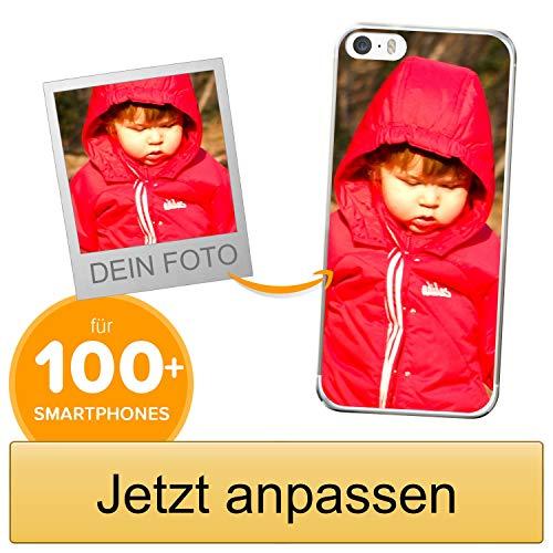 Coverpersonalizzate.it Handyhülle für Apple iPhone 5 / 5s / SE mit Foto-, Bildern- oder Text selbst gestalten- Die Handyhülle ist aus weichem transparentem TPU-Silikon-Gel Material